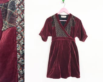 Vintage 1970s-80s Velvet Robe/Wrap Dress/Jacket By Jane Schaffhausen for Belle France Size M