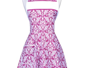 Womens Vintage Apron - Purple Pink Damask Retro 50s Style Kitchen Apron with Pockets to Personalize or Monogram (DP)