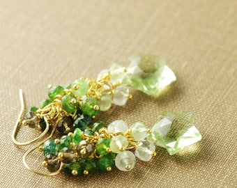 Green Amethyst Star Cluster Gold Earrings, Ombre Star Gemstone Dangle Earrings with Tourmaline and Moonstone
