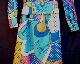 Lanvin Vintage 70's Maxi Shirt Dress Op Art Huge Floral Polka Dot Print Sz 10