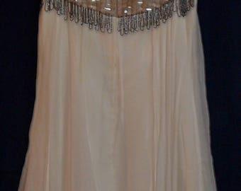 Vintage Chiffon Beaded Dress Fringe Bodice Slit Rhinestones Sequins