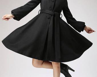 Wool coat, winter jacket, black jacket, warm coat, hooded coat, plus size coat, streetwear coat, belted coat, gift for women (711)