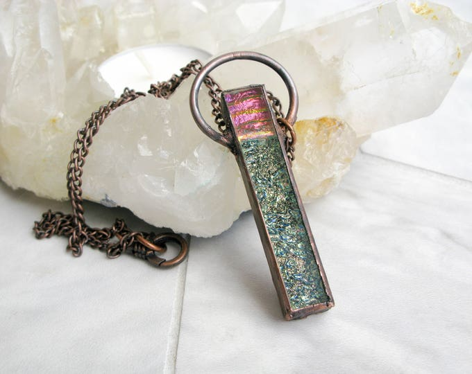 sunset Fused Glass Pendant Electroformed Copper Necklace Goddess necklace gothic Jewelry Large Glass Pendant Statement necklace OOAK
