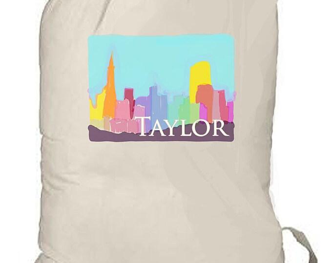 Laundry Bags, Large Personalized Laundry Bag, San Francisco Bag, Laundry Tote, Huge Bold Pattern, Summer Camp Bag, Cottage Floral Design