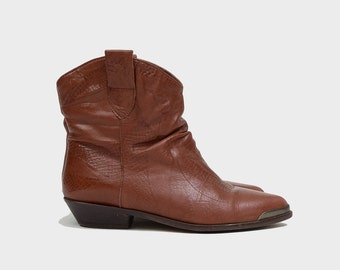Vintage 80s Brown Leather Cowboy Boots   Western Slouch Boot Ankle Short Boot   Connie - Women's Size 5.5 6