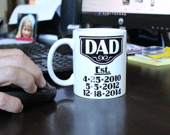 daddy est, Double Sided Coffee Mug, daddy and baby, long distance dad, daddy established, dad mug, fathers day mug, father's day
