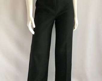 Vintage Women's 70's Black Polyester Pants, High Waisted, Wide Leg (S)