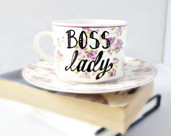 Boss Lady, Tea Cup and Saucer, funny best friend gifts, gift for her, coworker gift, funny coffee mugs for work, personalized, unique