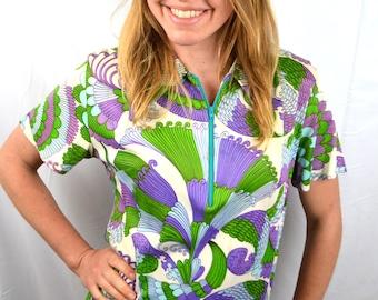 Slinky 1960s Psychedelic Purple Green Dress - Size 16