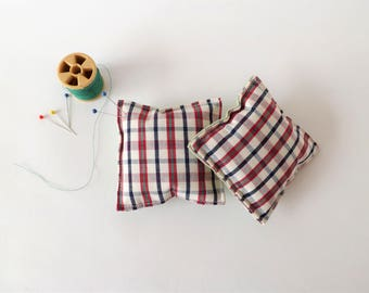 Recycled Fabric Swatch, Scrap and Offcut Pin Cushion with Eco Friendly Wadding, Sustainable Haberdashery Supplies, Check Print.