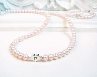 Personalized Pearl Necklace & Bracelet Set - Little Girl Baby Infant Jewelry - Flower Girl Necklace and Bracelet Gift Set - Pink Swarovski