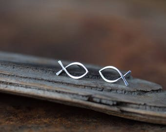 Bigger Fish Stud Earrings, Minimalist Silver Wire Outline Ichthus Symbol, Handcrafted Solid Sterling Silver Studs