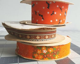 AUTUMN Ribbons MIXED LOT   Printed Cotton Florist Ribbon Spools   for Fall Wreaths, Garlands, Kids Crafting, Scrap Books, Gifts, Parties