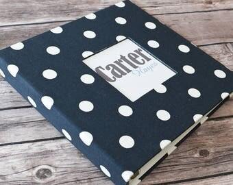 Baby Book, Baby Gift, Baby Album, Baby Memory Book, Baby Keepsake, Modern Baby Book, Navy Polka Dots