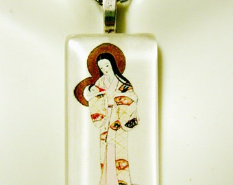 Japanese Madonna and child pendant with chain - GP01-083