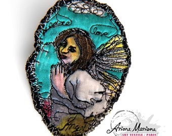 Felted textile brooch angel design embroidery - Brooch jewelry pin felt & silk – Original digital art work print brooch by Ariane Mariane