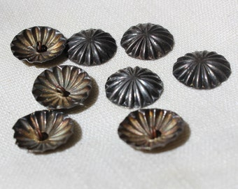"""8 Buttons Native American Set Silver Sewing Buttons Hand Stamped Navajo 5/8"""" Lot VINTAGE by Plantdreaming"""