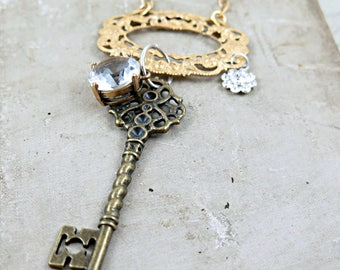 Key Charm Necklace, Skeleton Key Necklace, Filigree Necklace, Rhinestone Necklace, Art Deco Style Jewelry