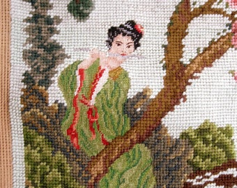 Needlework Tapestry of Asian Garden with Pagoda and Woman on Flute, Unfinished Needlework of Cherry Blossoms, Asian Pagoda Garden