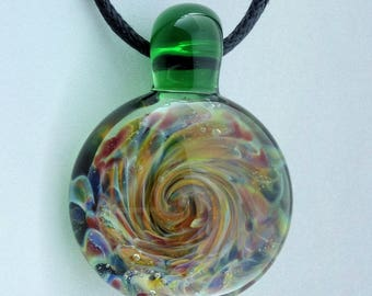 Blown Glass Pendant Burst of Color Necklace Lampwork Focal Bead (BC7157B)