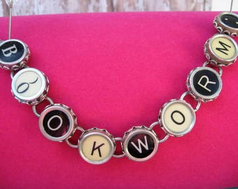 Typewriter Key Bracelet - Antique Typewriter Jewelry -  B5002 - Bookworm