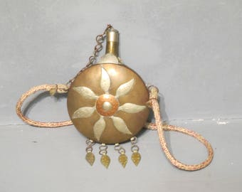 Vintage Replica of Brass Black Powder Flask / Moroccan Water Bottle Canteen with Rope, Copper Chain and Silver Metal Leaves, Hammered Ornate