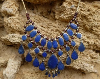 Super handmade Afghan Tribal Necklace. Lapis Lazuli Blue. Hand made.