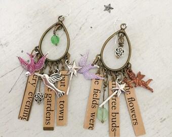 delights~assembled earrings, charm earrings, romantic earrings, dangle earrings, charm earrings, collage earrings