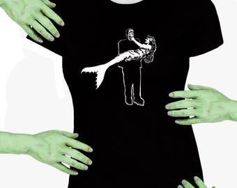 Voodoo Sugar Frankenstein Monster Carrying Mermaid Black Missy Fit t-shirt Plus Sizes Available VoodooSugar