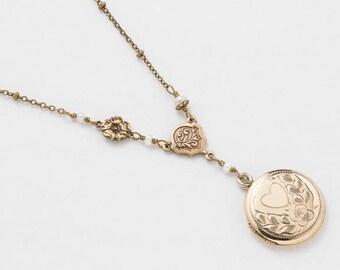 Vintage Locket Necklace, Gold Filled Locket with Rose Gold, Heart Leaf Engraving, Genuine Pearls & Flower Charm Vintage Wedding Jewelry Gift