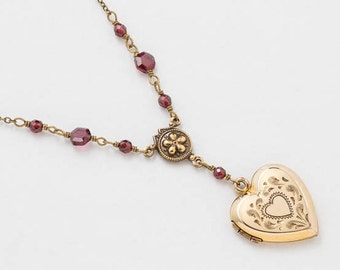 Antique Locket, Gold Heart Necklace, Gold Filled Locket, Heart Locket with Genuine Red Garnet, Flower Charm & Leaf Engraving, Photo Locket