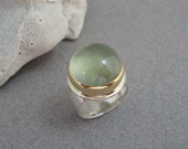 RESERVED - First Payment on Large Prehnite Ring in 18k Gold and Sterling Silver, Soft Green Glowing Gemstone Ring