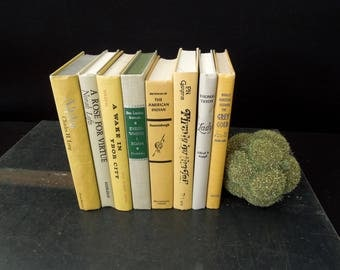 Book Collection Yellow Taupe Book Stack - Colorful Bookshelf Books For Decor Vintage - Wedding Centerpiece Decoration
