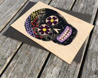 Hand-Painted Wood Greeting Card- black sugar skull with yellow, purple & red