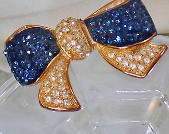 Vintage Blue Clear Rhinestone Bow Brooch. Roman.  Large Rhinestone Ribbon Pin.  Gold Plated Blue and Clear Rhinestone Brooch.