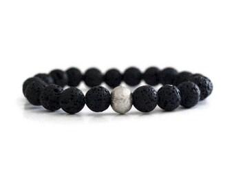 Lava Rock Bracelet / Lava Jewelry / Stretch Cord / Black Lava Bracelet