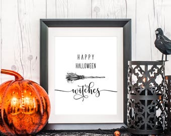 "PRINTED ""Happy Halloween Witches"" Art, 8 x 10 or 11 x 14, Halloween Art Print, Halloween Party Decor, Home Decor Print, Printed & Shipped"