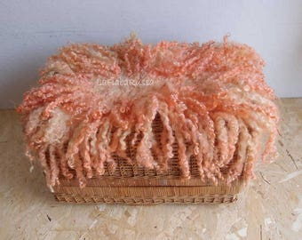 photography baby photo prop felt layer orange curly wool newborn rug large size, flat fur rug, basket filler, newborn prop blanket,