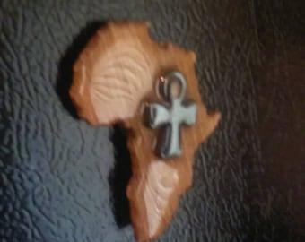 Ankh on Africa Refrigerator Magnet Wood Color
