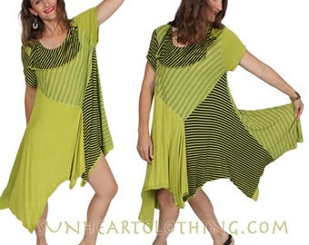 SUNHEART LAGENLOOK DRESS Festival Resort Boho Hippie Chic one-size  fits Sml-Plus Med-Large-xl-1x-2x-3X-4X-5X