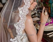 Lace veil Mantilla Champagne with Beaded trim edge with pearls in fingertip length Spanish traditional wedding veil