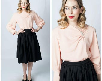 Vintage 1940's La Dear Blush Pink Rayon Blouse with Bishop Sleeves/ 40's Light Pink Blouse Shirt