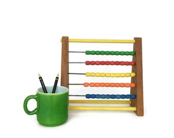 Vintage Wooden Child's Abacus // Schoolhouse Homeschool Decor // Painted Wood Abacus