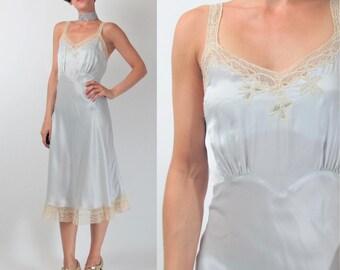 Vintage 1930s 1940s Slip Dress Powder BlueSlip Dress Sheer Floral Lace Slip Bias Cut Rayon Straps Flapper Lingerie Dress (S/M) E101062