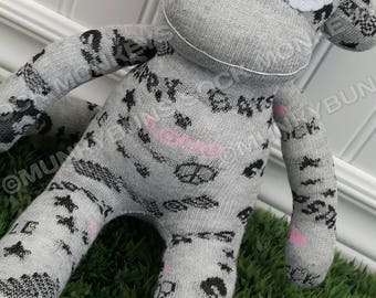 CLEARANCE - Slang and Symbols Sock Monkey Doll - Optional Name Embroidered