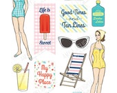 Printable RETRO BEACH die cuts!-Digital File Instant Download- ephemera, summer, collage, Bando, the Happy Planner, hand drawn