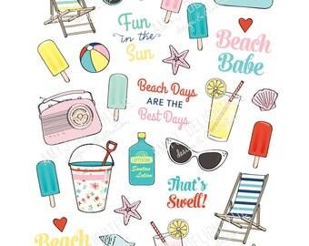Printable Retro Beach stickers! -Digital File Instant Download- summer, sunglasses, seashore, bando, happy planner, hand drawn