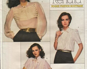 Vogue 2185 / French Boutique / Vintage Designer Sewing Pattern By Renata / Blouse Shirt Top /Size 12 Bust 34