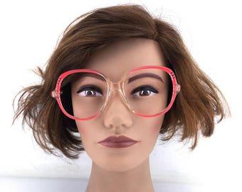 vintage eyeglasses / round eyeglasses / oversize eyeglasses / clear frames / retro eyeglasses / neon pink / bright pink/  52[]18 140 / 296a
