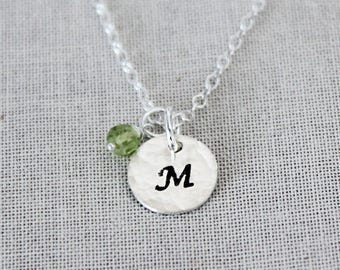 Tiny Birthstone Necklace & Initial, Dainty Sterling Silver Disc Charms, Jewelry For Mom, Mom Necklace